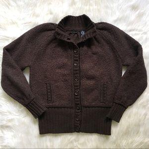 Moda International Brown Wool Blend Cardigan